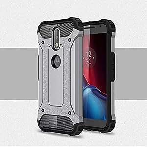 Moto G4 / G4 Plus Back Case Cover - Heavy Duty Shockproof Armor Hybrid Case (Silver)