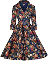 Lindy Bop 'Vivi' Vintage 1950's Style English Rose Floral Print Dress