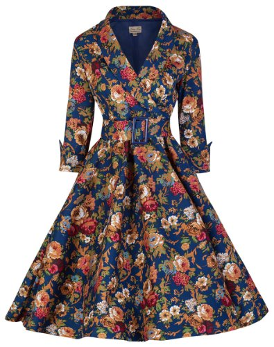 Lindy Bop 'Vivi' Vintage 1950's Style Dark Blue English Rose Floral Print Dress