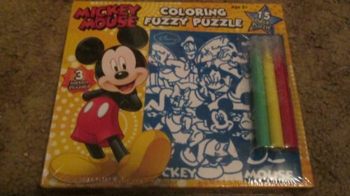 Disney Mickey Mouse 15 Piece Coloring Fuzzy Jigsaw Puzzle