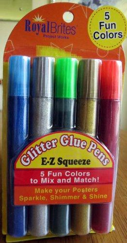 Royal Brites 5-pack Glitter Glue Pens E-z Squeeze