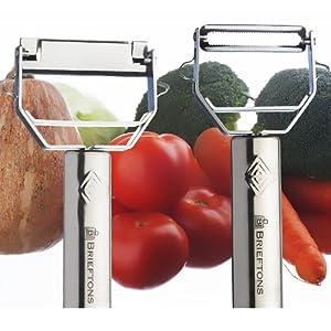 Brieftons Julienne Peeler/Cutter/Slicer: Serrated Stainless Steel Fruit/Vegetable Peeler & Julienne Slicer