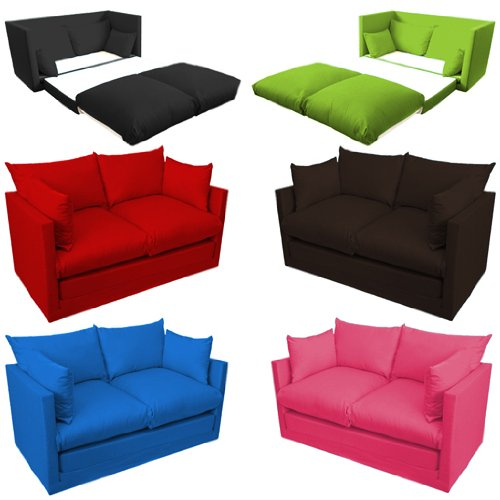 Comfortable Fuchsia Pink Childrens Kids 100 Cotton Drill 2 Seater Sofa Bed Easy Pull Out