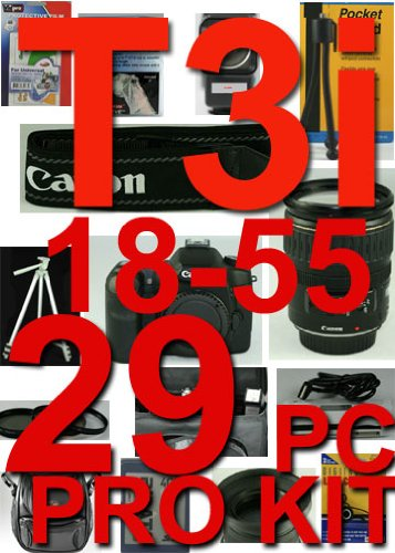 Canon EOS Rebel T3i 29 Piece Pro Kit with Canon EF-s 18-55mm F 3.5~5.6 Is II Lens , 5 Years Extended Warranty Plan ,Excellent Handle ,Rain Sleeve ,Spirit Level , 8g High Speed Card , , 3 Piece Lens Cleaning Kit , Card Case Holds 3 Cards , High Speed Card Reader , Table Top Tripod , Flash , LCD Protector , 3 Piece Filter Kit , Soft Case , Full Size Tripod , 2x Professional Telephoto Lens , 0.45 X Professional Wide Angle Lens , 4 Piece Close-up Macro Set , Deluxe Camera Bag, Canon Wide Strap , Len