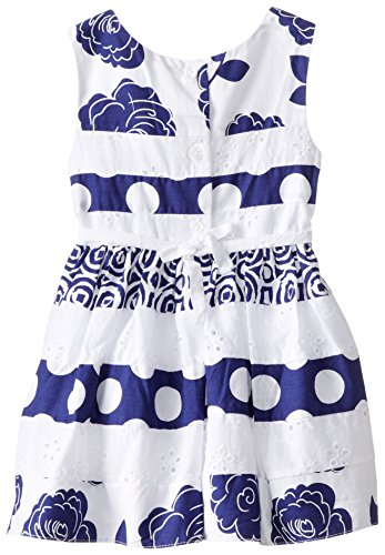 Youngland Baby Girls' 2 Piece Mixed Print Dress and Knit Cardigan, White/Navy, 0-3 Months
