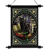 Design Toscano Cat and Books Canvas Wall Scroll Tapestry
