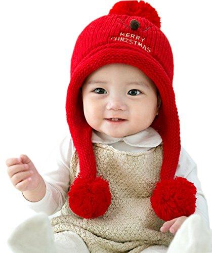 GZMM Unisex Newborn Baby Woolen Warm Winter Earflap Beanie Hat Skull Cap With Christmas Deer Design(Red)
