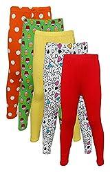 Little Stars Girls' Cotton Regular Fit Leggings- Pack of 5 (Po5L_109_26, Multi-Colour, 5-6 Years)