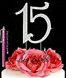 Lulu Sparkles LLC Quinceanera 15 Rhinestone Crystal Cake Topper 15 Birthday Anniversary Diamante Bling Monogram Numbers Cake Topper Bonus Stylus Pen Gift
