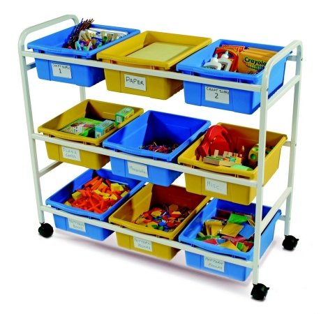Copernicus Educational Products CC005-9-WBY Multi-Purpose Cart With Blue & Yellow Tubs