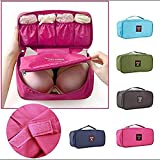 Waterproof Women Girl Lady Portable Travel Bra Underwear Lingerie Organizer Bag Cosmetic Makeup Toiletry Wash Storage Case Sky Rose Red.