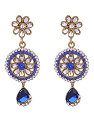 I Jewels Traditional Gold Plated Kundan & Stone Earrings For Women (Blue) (E2131Bl)