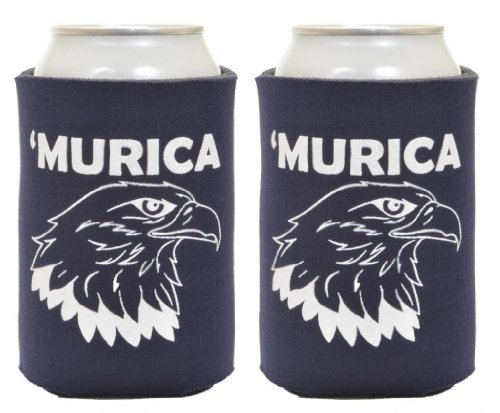 Murica Bald Eagle 2 Pack Can Coolies Navy