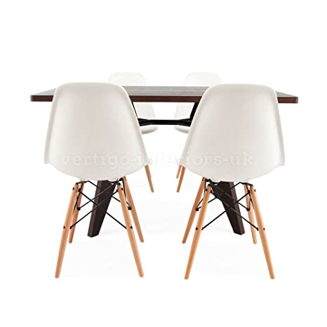 Prouve Gueridon Dark Rectangular Table & 4 DSW Style Chairs - White