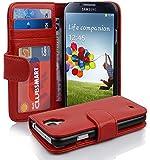 Cadorabo ! PREMIUM - Book Style Hülle im Portemonnaie Design für Samsung Galaxy S4 (GT-i9500 / GT-i9505 LTE) in INFERNO-ROT