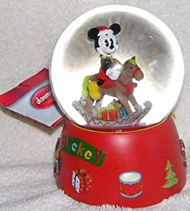 "Disney Mickey Mouse on Rocking Horse Musical Christmas Snow Globe Waterball - Plays ""We Wish You a Merry Christmas"" from Disney"