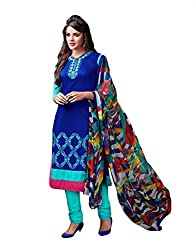 Siya Fashion women's Chanderi Party Wear Unstitched Dress Material(si104_Blue color)
