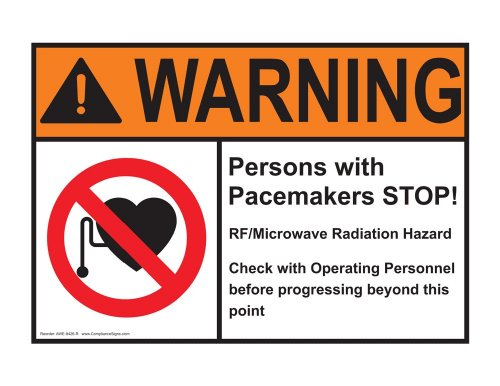 Compliancesigns Plastic Ansi Warning Sign, 10 X 7 In. With Mri / X-Ray / Microwave Info In English, White