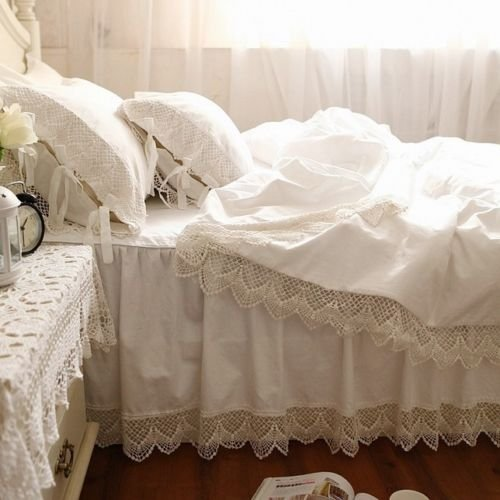 Unique Swanlake Shabby and Victorian Style White Wide Lace Cotton Duvet Cover Bedding Set California