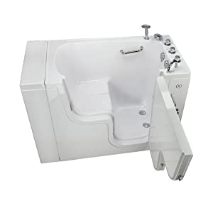 Ella's Bubbles OLA3052-R-h Transfer Acrylic L Shape Wheelchair Accessible Soaking+Heated Seat Walk-In Bathtub with Right Outward Swing Door, Thermostatic Faucet Set, 2 Dual Drain 29 x 52 x 42 White (Color: White, Tamaño: 29 x 52 x 42)