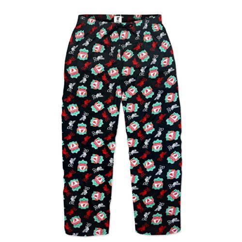 Liverpool Fc Official Soccer Gift Mens Lounge Pants Pajama Bottoms Black Medium