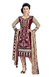 Ethnic For You Crepe Unstitched Salwar Suit Dress Materials(Magenta,Beige)