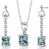 Swiss Blue Topaz Pendant Earrings Necklace Sterling Silver Rhodium Nickel Finish