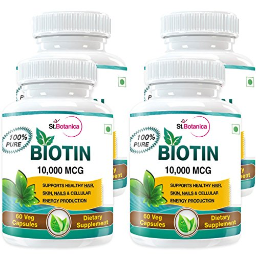 StBotanica Biotin For Healthy Hair, Skin & Nail Care - 10,000 MCG - 60 Veg Caps - Buy 2 Get 2 Free + Extra 25%...