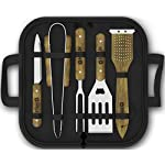 Extremely Practical Grill Set - 5-piece BBQ Set - Stainless Steel Grill Tools With Wood Handles - Grilling Set With Waterproof Case For Home and Camping - Recipes Book