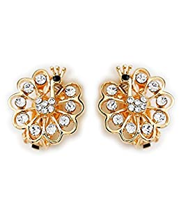 Celebrity Jewellery-078 Ladies Peacock Swarovski Elements Crystal with Rhinestone Rose Gold Plated Clip on Stud Earrings for Women Free Gift Box