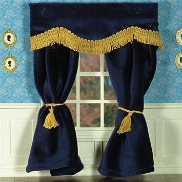 Dolls House 5519 Bleu Foncé Rideaux de velours Rideau 1:12 pour maison de poupée