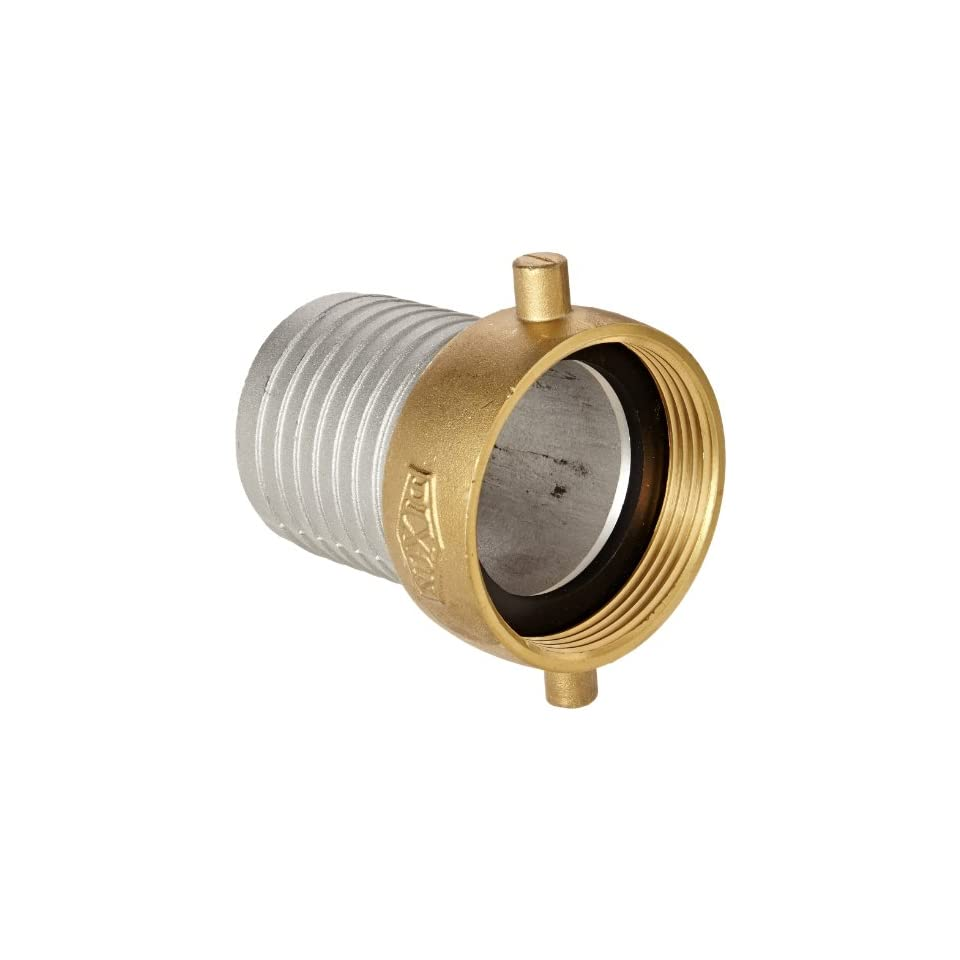 Dixon Valve FAB250 Aluminum Shank/Water Fitting, King Short Shank Suction Coupling with Brass Nut, 2 1/2 NPSM Female x 2 1/2 Hose ID Barbed