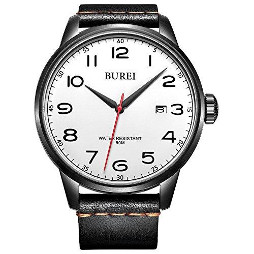 Orologio da Polso Unisex BUREI, Orologio con Datario con Ore in Numeri Arabi, Cornice Nera, Cinturino in Pelle