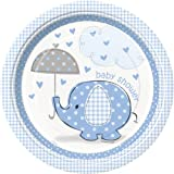 Elephant Baby Shower 8 Count Dinner Plates, 8 5/8-Inch, Blue, White and Gray