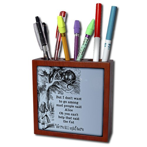 3dRose ph_110388_1 Alice and Cheshire Cat in Tree-Alice in Wonderland-Tile Pen Holder, 5-Inch (Ti Pen compare prices)