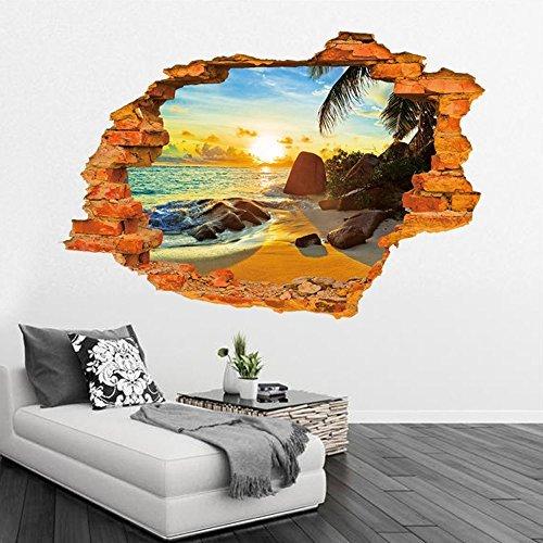 Stereo spiaggia di estate stile 3D Adesivi Muro di mattoni da letto Soggiorno Divano TV Sfondo Adesivi Home Decor murale rimovibile da parati delle decalcomanie