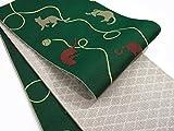 半巾帯 小袋帯 両面長尺細帯 猫柄 (緑)