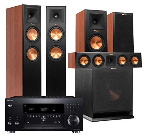 Klipsch Home Theater System Bundle (RP-260F, RP-150M, RP-440C, R-110SW) with Receiver (Onkyo TX-RZ800 - Cherry)