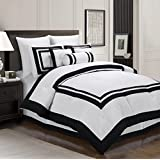Chezmoi Collection 7 Piece Square Pattern Hotel Duvet Cover Bedding Set, Queen, White/Black