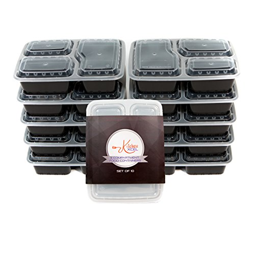 by kitchenxcel meal prep container reusable stackable 3 compartment bento box and lunch box set. Black Bedroom Furniture Sets. Home Design Ideas