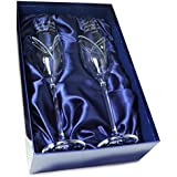 Personalised Engraved Glass - Pair of Swarovski Crystal Champagne Flute Glasses with Heart Design - Presented in a Silk Lined Gift Box making the 'Perfect Gift'.