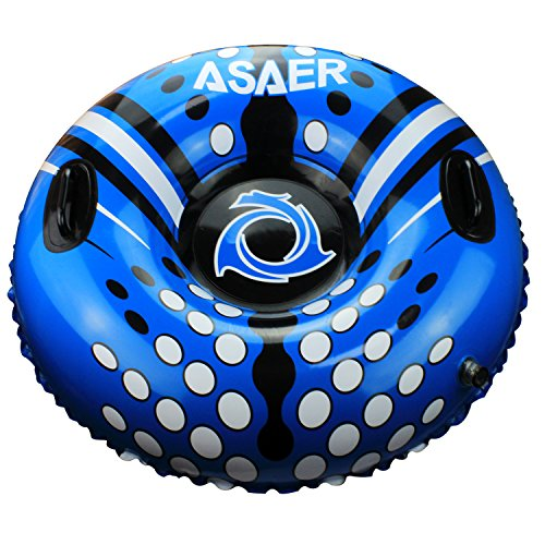 ASAER Snow Tube - Air Tube 39 Inch Inflatable Snow/Sled with Rapid Valves - Aqua Leisure Winter Inflatable Round Snow Tube with vinyl tube repair kit - With thickening bottom of 50mm!!(Blue) (Ski Tube Repair Kit compare prices)