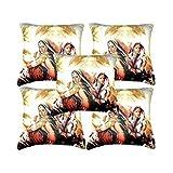 Car Vastra Digital Print Indian Woman-II Cushion Covers -Set Of 5 (12x12 Inches)