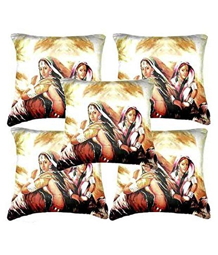 Car Vastra Digital Print Indian Woman-II Cushion Covers -Set Of 5 (12x12 Inches)