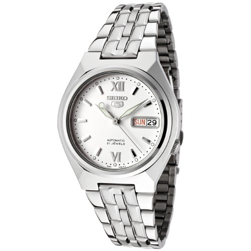 Seiko Men's 5 Automatic SNK315K Silver Stainless-Steel Automatic Watch with White Dial