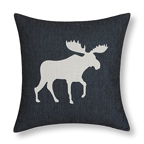 "Euphoria Home Decorative Cushion Cover Pillows Shell Vintage Poly Cotton Blend Imitation Linen Black Color With Ecru Moose 18"" X 18"" front-395281"