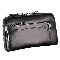 Teemzone Top Leather Business Clutch Bag Handbag Wallet Purse Organizer (Black)