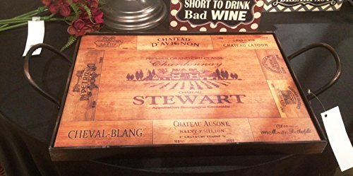 Vintage Wine Cask Design Serving Tray - Wood with Aged Metal Frame (Wine Themed Tray compare prices)