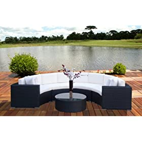 Outdoor Wicker Furniture All Weather Resin 5pc Round Patio Sectional