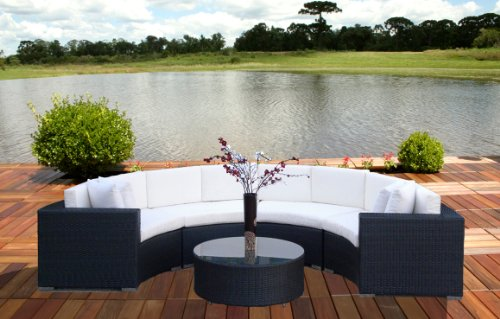 5pc Outdoor Patio & Pool All Weather Resin Wicker Round Sofa Sectional Set Furniture